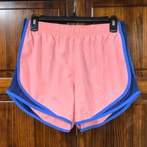 Nike Dri-Fit pink & blue lined running shorts